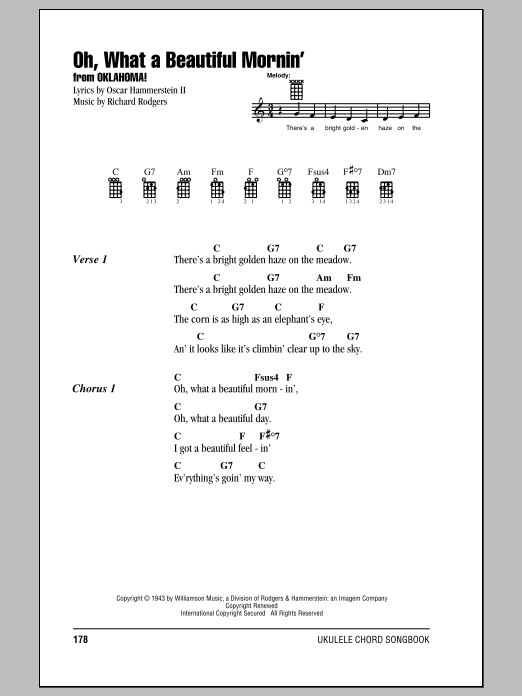 Tablature guitare Oh, What A Beautiful Mornin' de Rodgers & Hammerstein - Ukulele (strumming patterns)