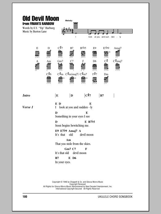 Tablature guitare Old Devil Moon de Burton Lane - Ukulele (strumming patterns)
