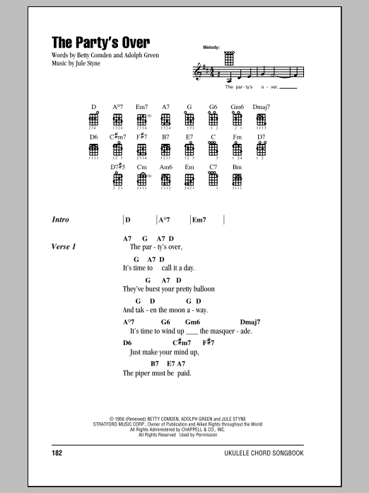 Tablature guitare The Party's Over de Jule Styne - Ukulele (strumming patterns)