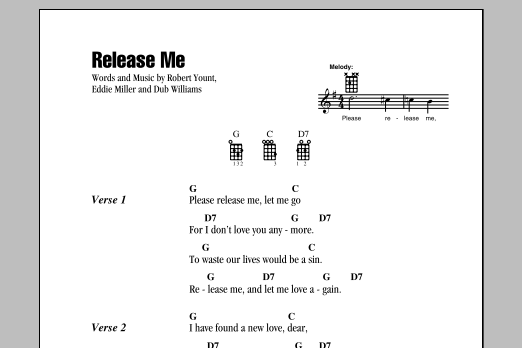 Tablature guitare Release Me de Engelbert Humperdinck - Ukulele (strumming patterns)