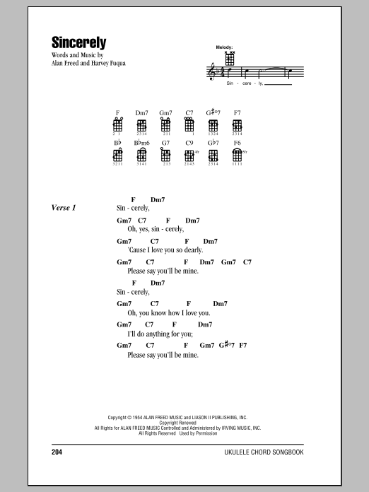 Tablature guitare Sincerely de Moonglows - Ukulele (strumming patterns)