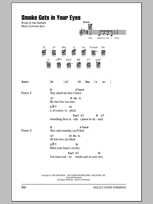 Tablature guitare Smoke Gets In Your Eyes de The Platters - Ukulele (strumming patterns)