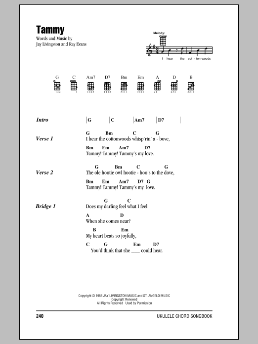 Tablature guitare Tammy de The Ames Brothers - Ukulele (strumming patterns)