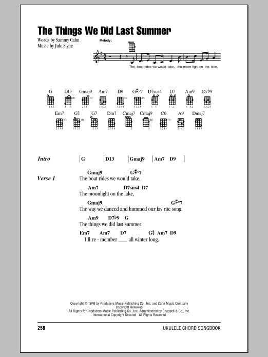 Tablature guitare The Things We Did Last Summer de Sammy Cahn - Ukulele (strumming patterns)