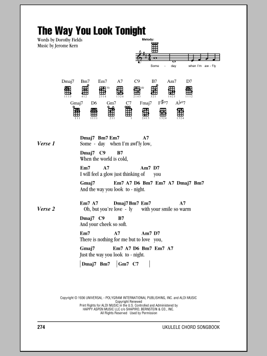 Tablature guitare The Way You Look Tonight de Frank Sinatra - Ukulele (strumming patterns)