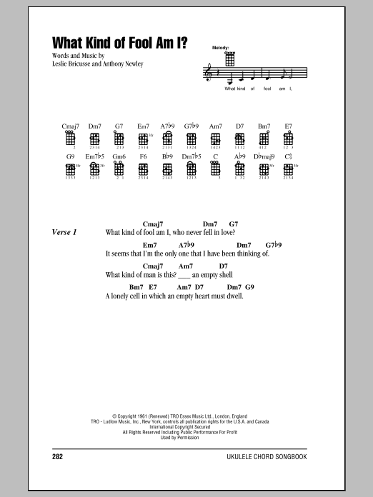 Tablature guitare What Kind Of Fool Am I? de Sammy Davis Jr. - Ukulele (strumming patterns)