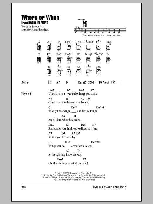 Tablature guitare Where Or When de Dion & The Belmonts - Ukulele (strumming patterns)