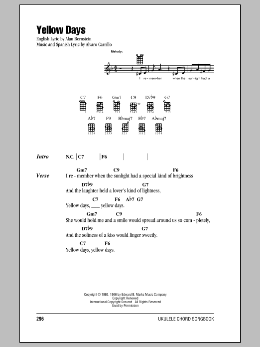 Tablature guitare Yellow Days de Frank Sinatra - Ukulele (strumming patterns)