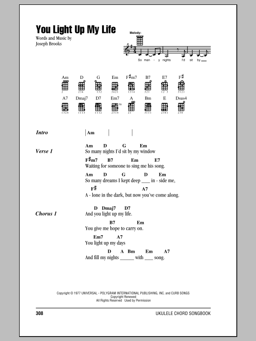 Tablature guitare You Light Up My Life de Debby Boone - Ukulele (strumming patterns)