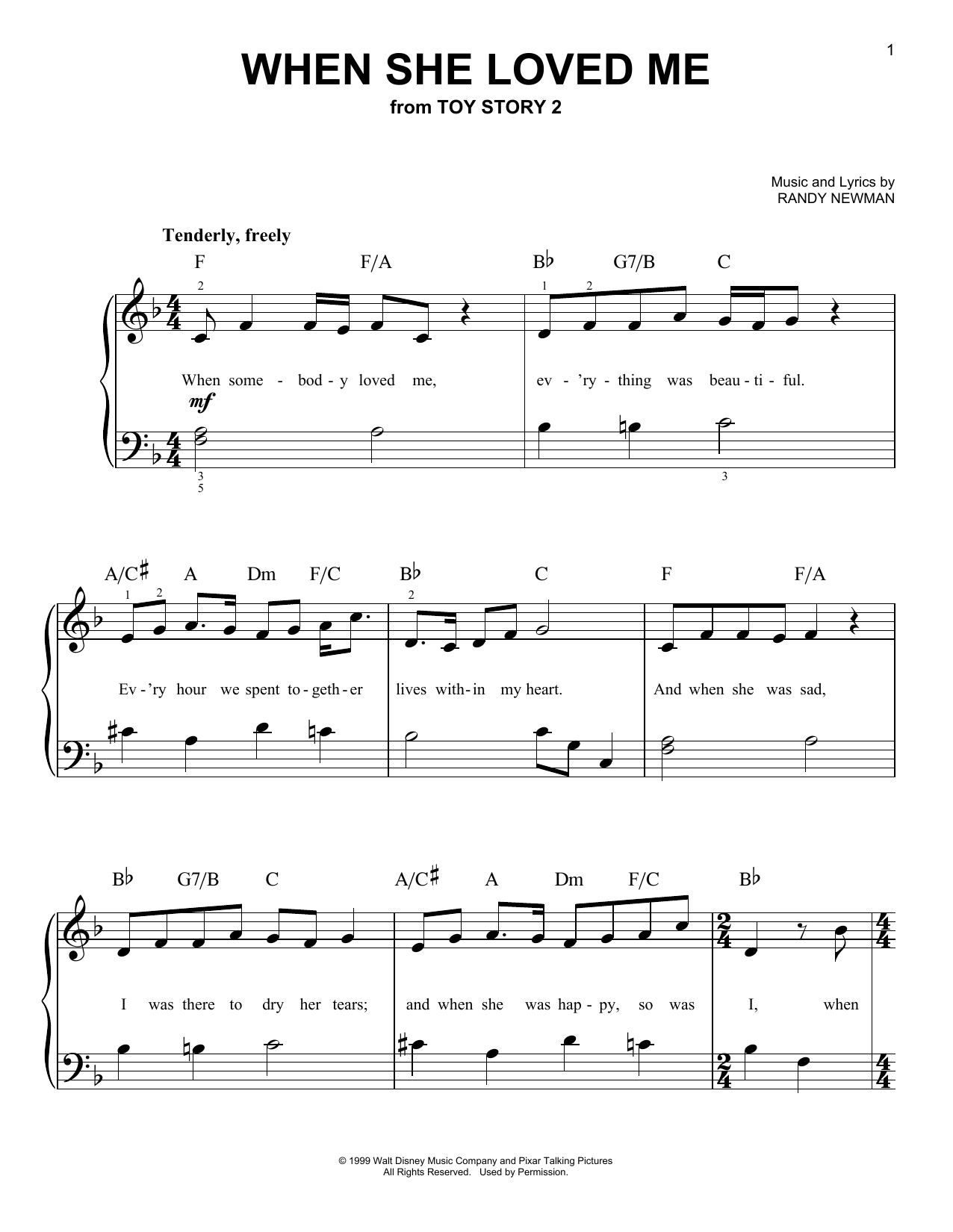 When She Loved Me sheet music for piano solo (chords) by Randy Newman