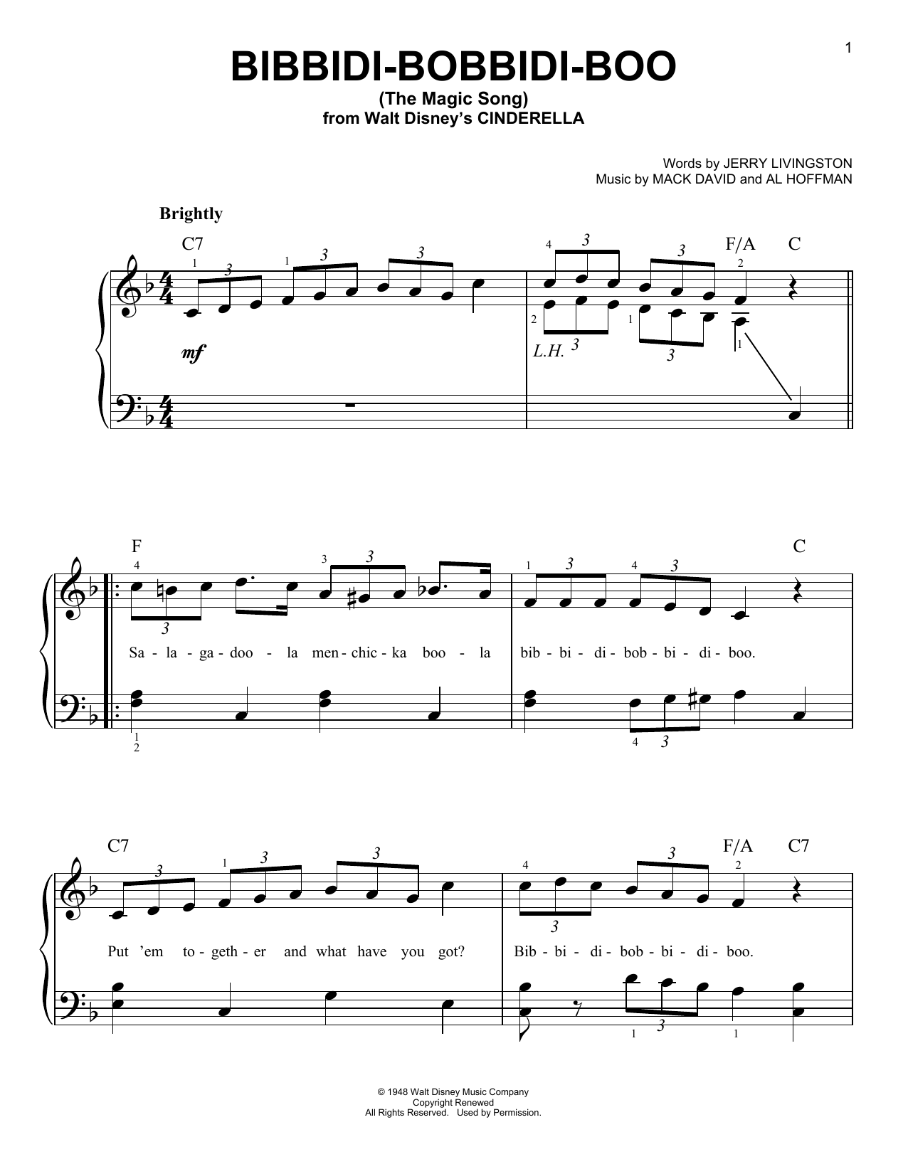Bibbidi-Bobbidi-Boo (The Magic Song) sheet music for piano solo (chords) by Mack David