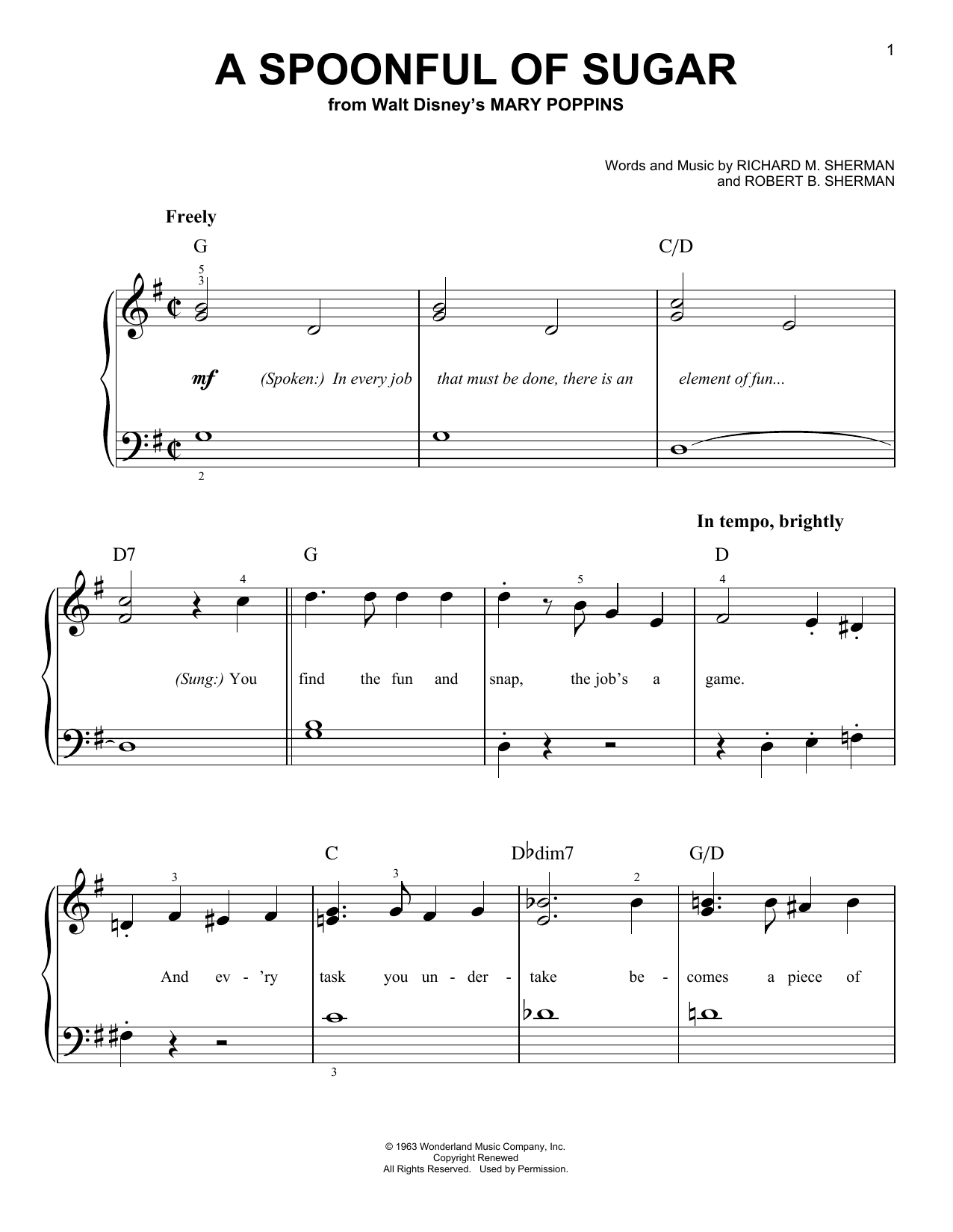 Partition piano A Spoonful Of Sugar de Robert B. Sherman - Piano Facile