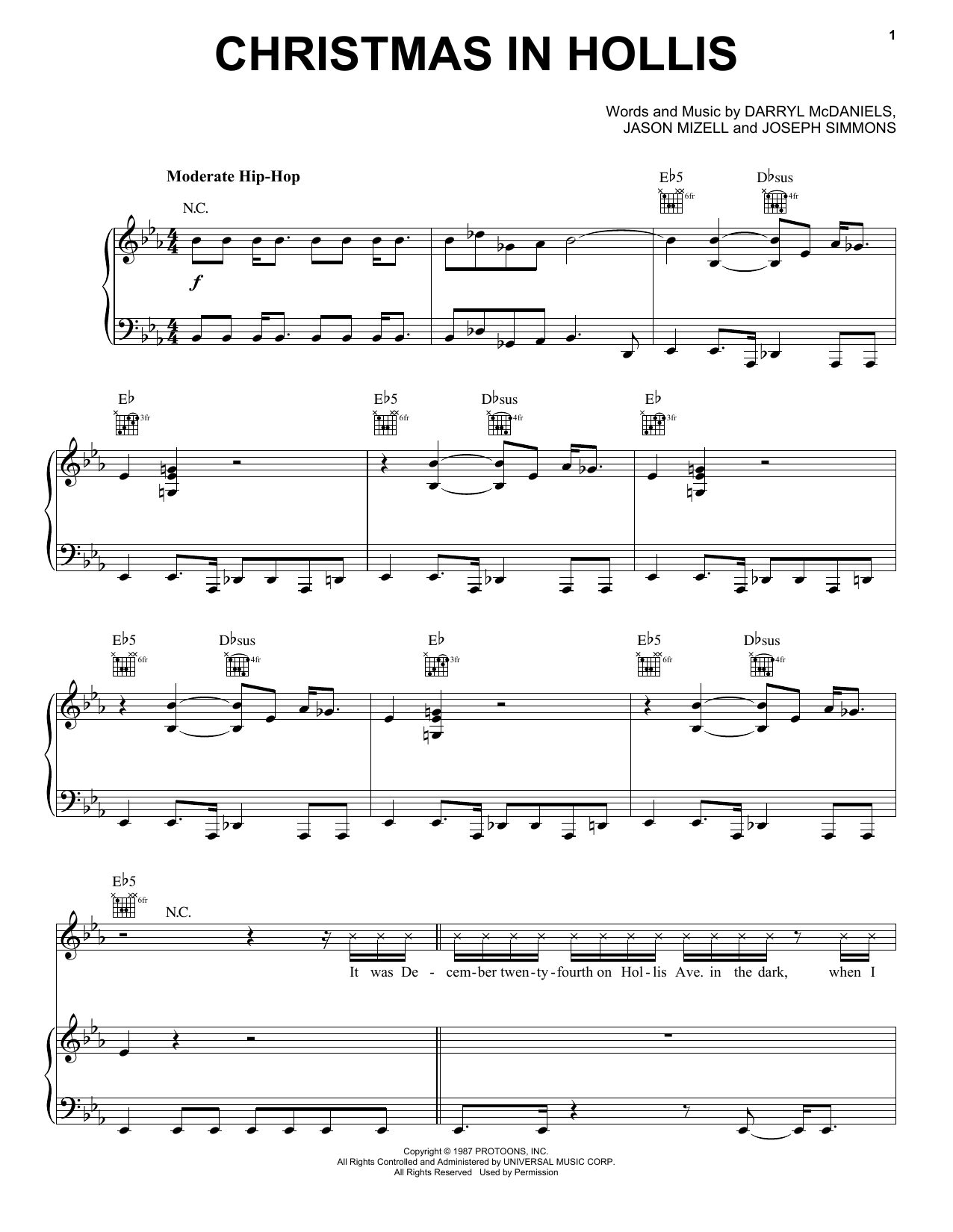 Christmas In Hollis sheet music for voice, piano or guitar by Run DMC