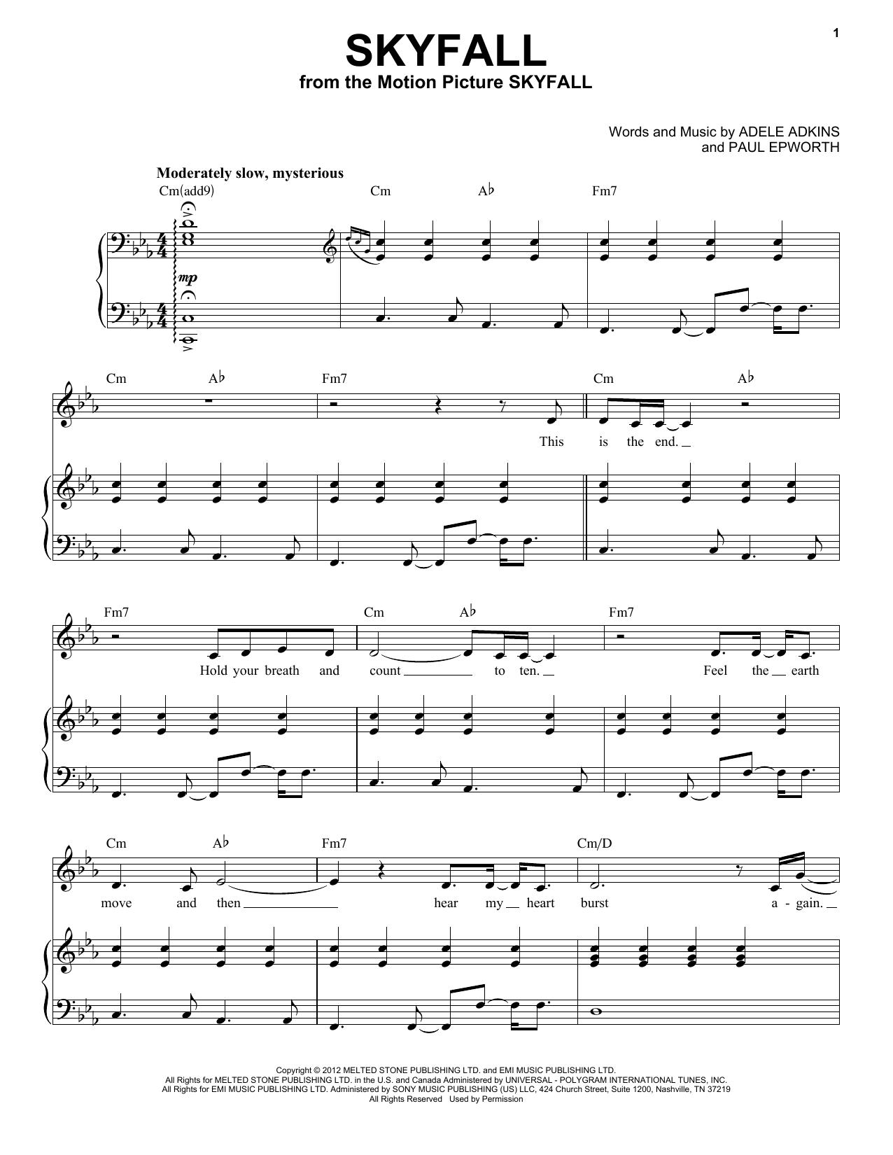 Partition piano Skyfall de Adele - Piano Voix