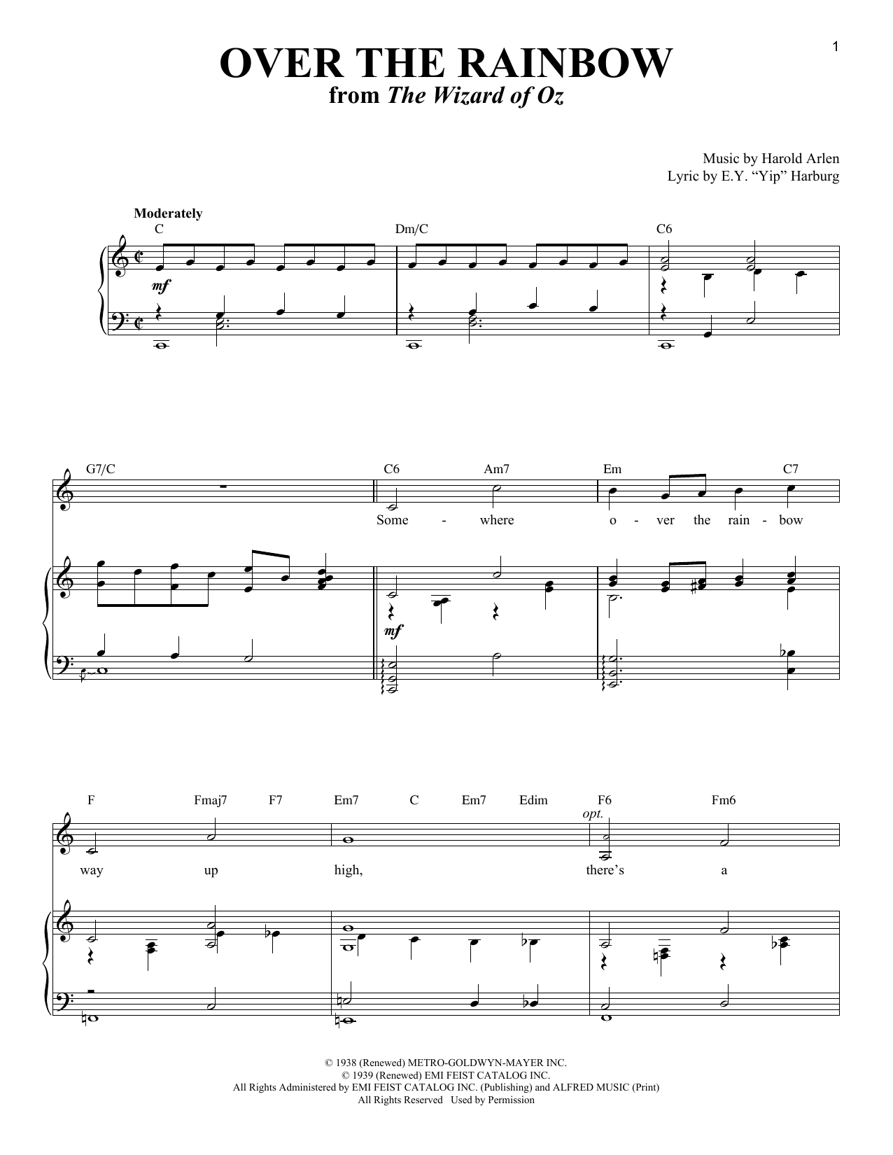 somewhere over the rainbow sheet music free pdf