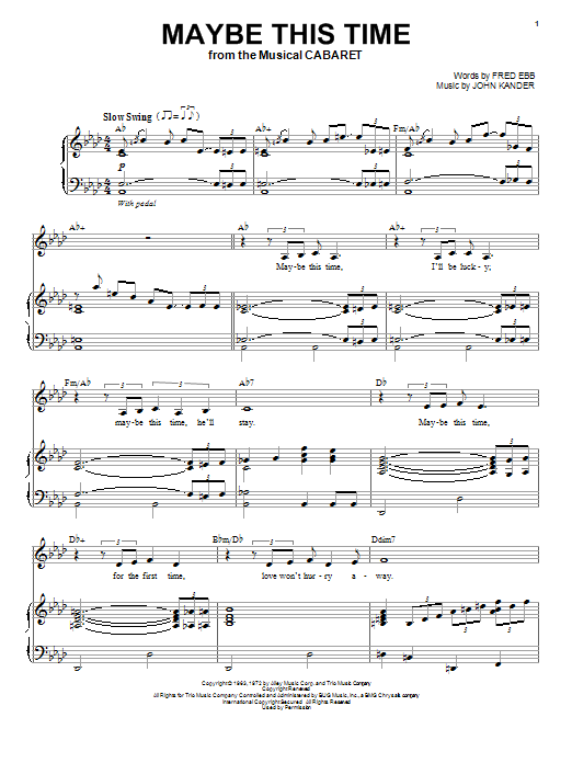 Partition piano Maybe This Time de John Kander - Piano Voix