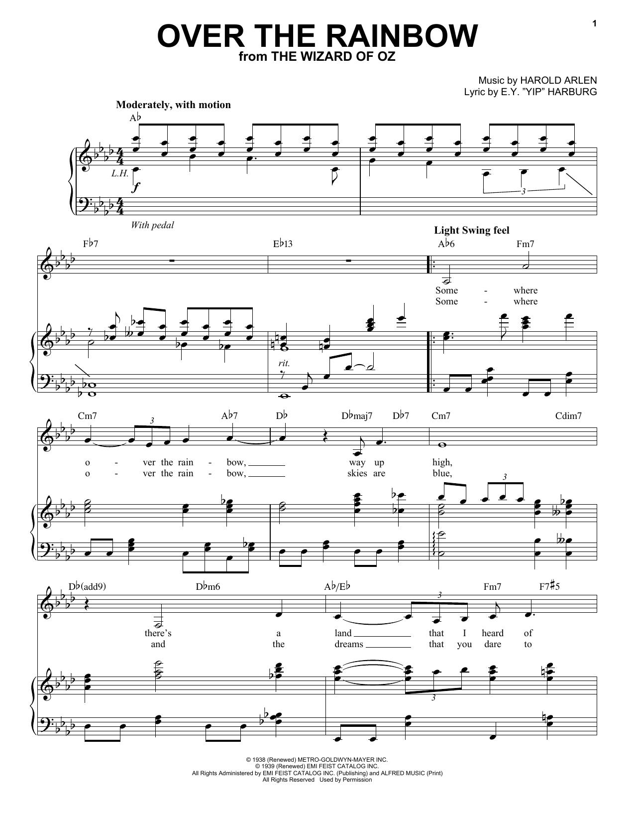 "Partition piano Over The Rainbow de E.Y. ""Yip"" Harburg - Piano Voix"