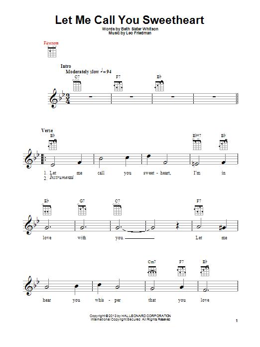Tablature guitare Let Me Call You Sweetheart de Leo Friedman - Ukulele