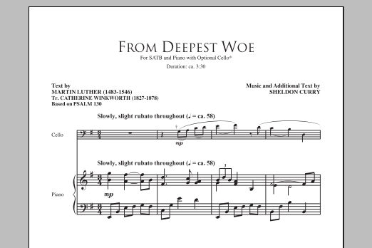 Partition chorale From Deepest Woe de Sheldon Curry - SATB