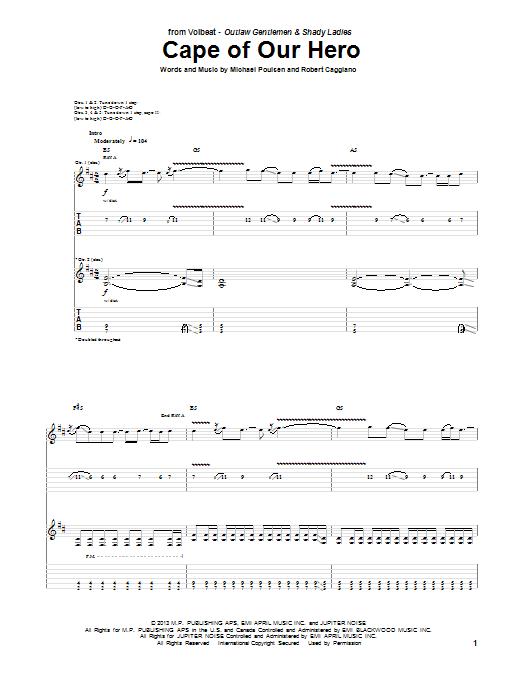 Tablature guitare Cape Of Our Hero de Volbeat - Tablature Guitare