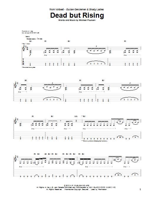 Tablature guitare Dead But Rising de Volbeat - Tablature Guitare