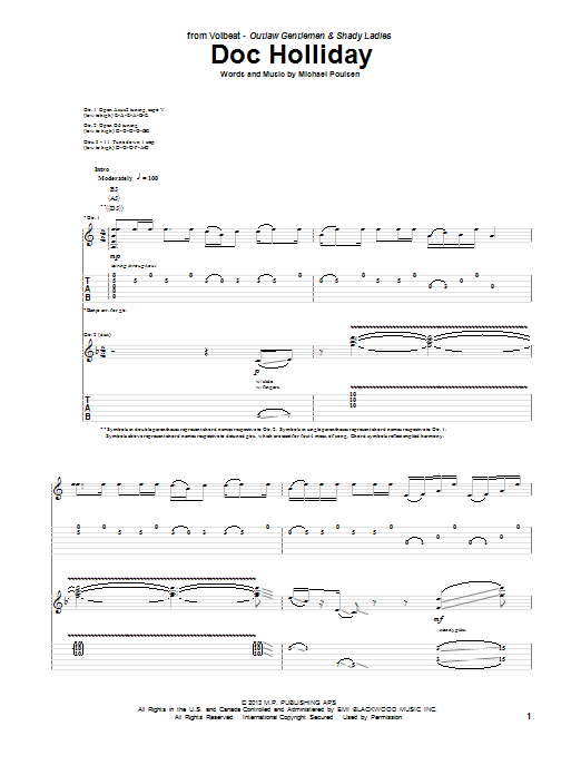 Tablature guitare Doc Holliday de Volbeat - Tablature Guitare