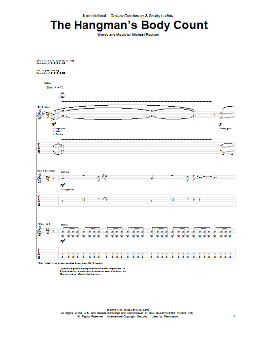 Tablature guitare The Hangman's Body Count de Volbeat - Tablature Guitare
