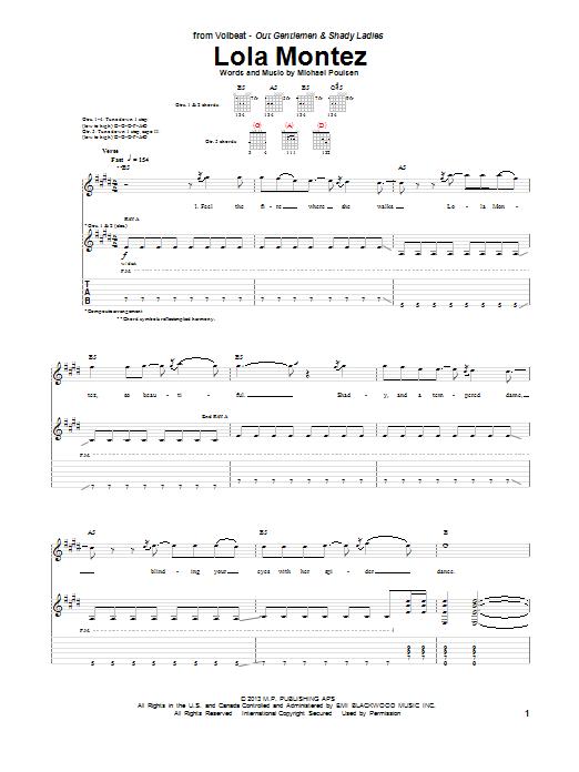Tablature guitare Lola Montez de Volbeat - Tablature Guitare