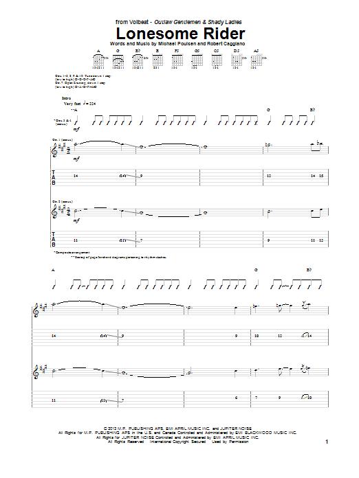 Tablature guitare Lonesome Rider de Volbeat - Tablature Guitare