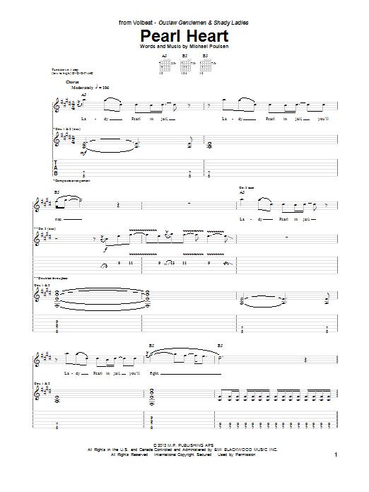 Tablature guitare Pearl Heart de Volbeat - Tablature Guitare