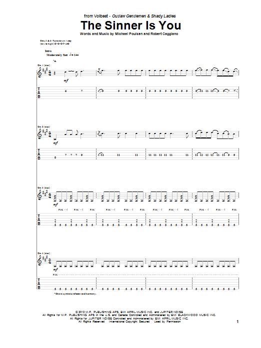 Tablature guitare The Sinner Is You de Volbeat - Tablature Guitare