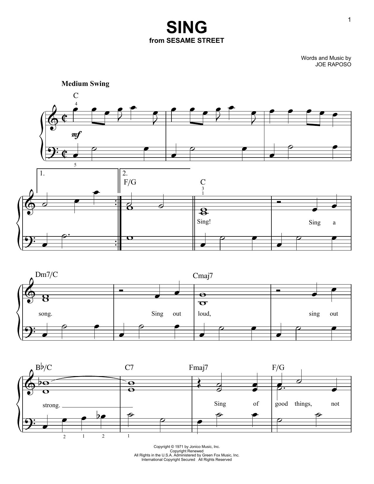 Partition piano Sing de The Carpenters - Piano Facile