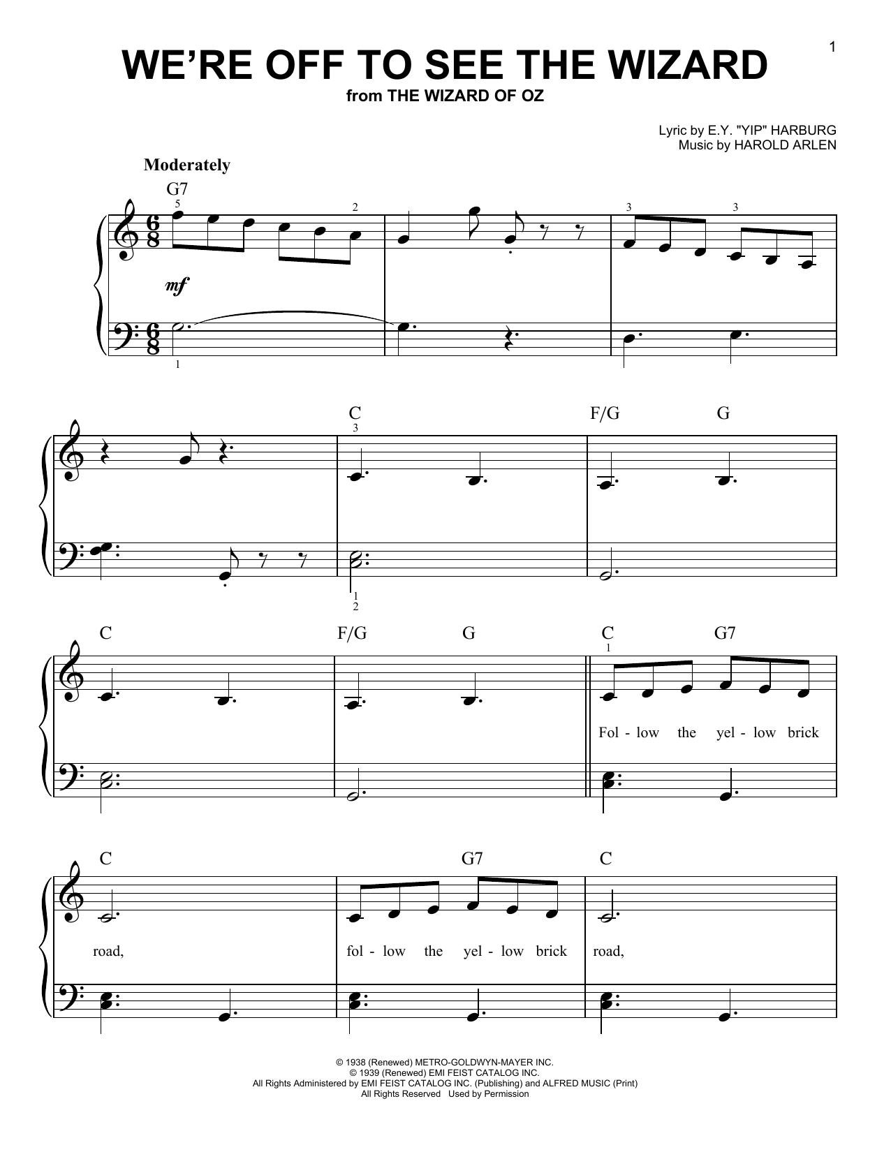 "Partition piano We're Off To See The Wizard de E.Y. ""Yip"" Harburg - Piano Facile"