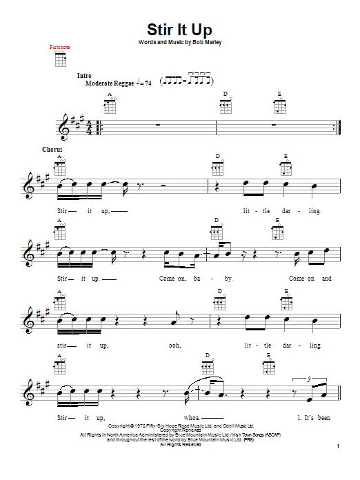 Tablature guitare Stir It Up de Bob Marley - Ukulele