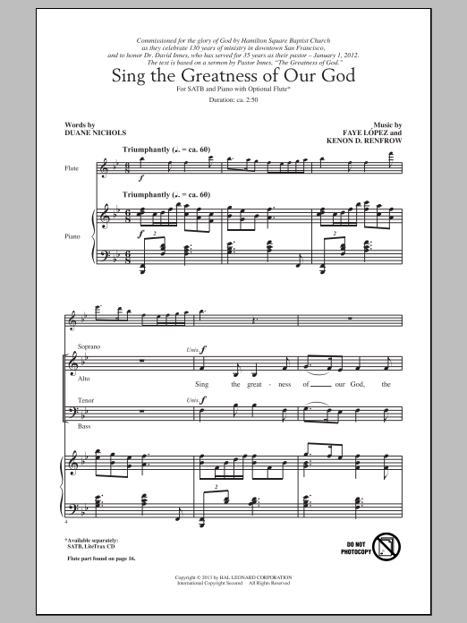 Partition chorale Sing The Greatness Of Our God de Kenon D. Renfrow - SATB
