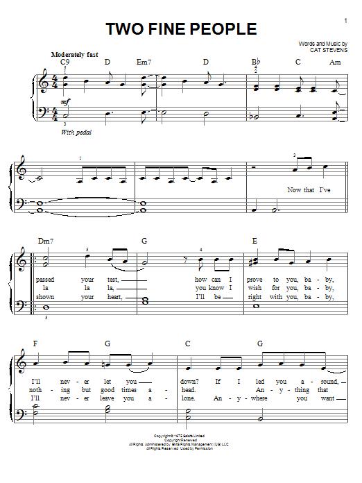Partition piano Two Fine People de Cat Stevens - Piano Facile