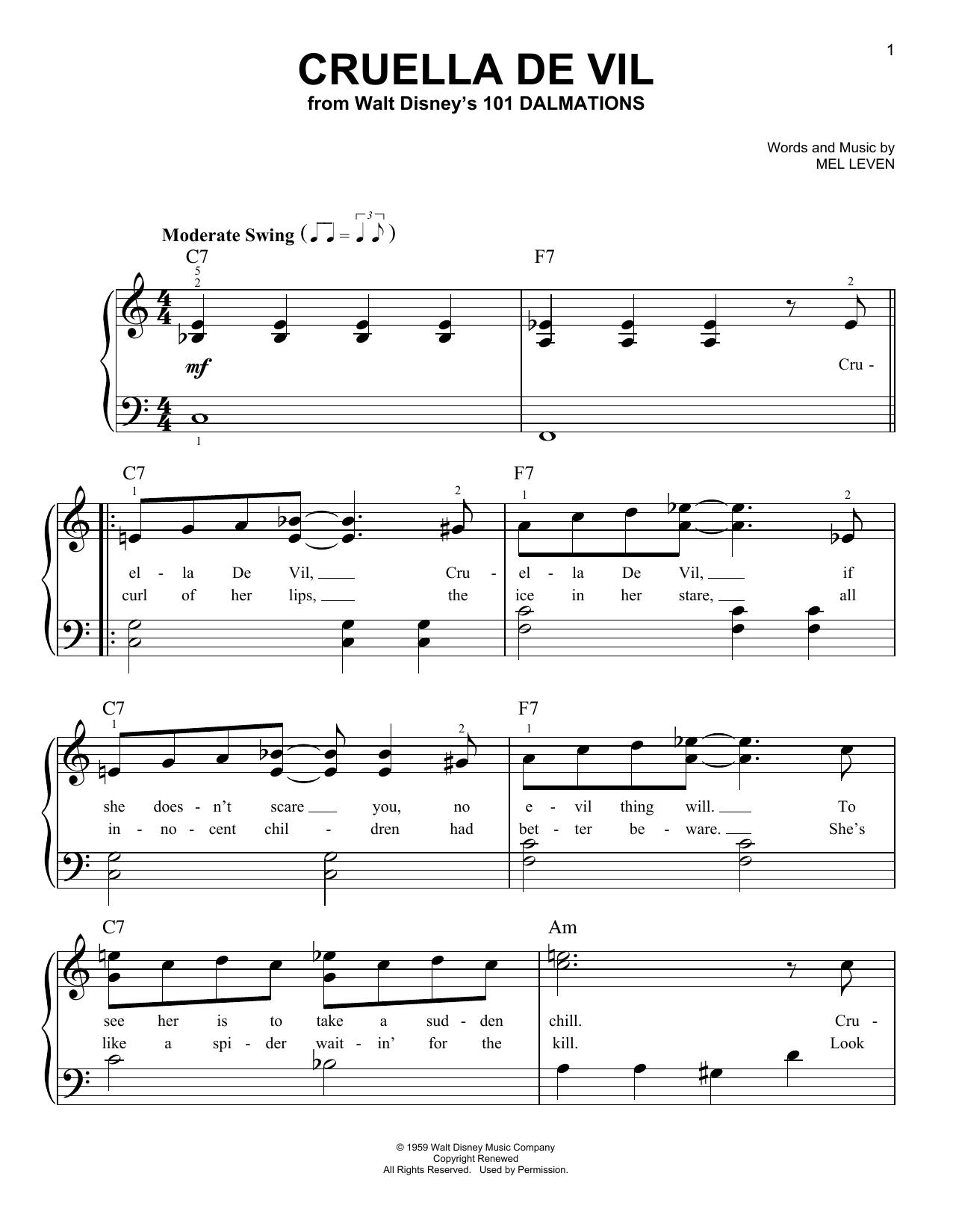 Partition piano Cruella De Vil de Mel Leven - Piano Facile