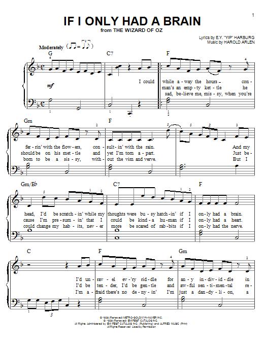 Partition piano If I Only Had A Brain de Harold Arlen - Piano Facile