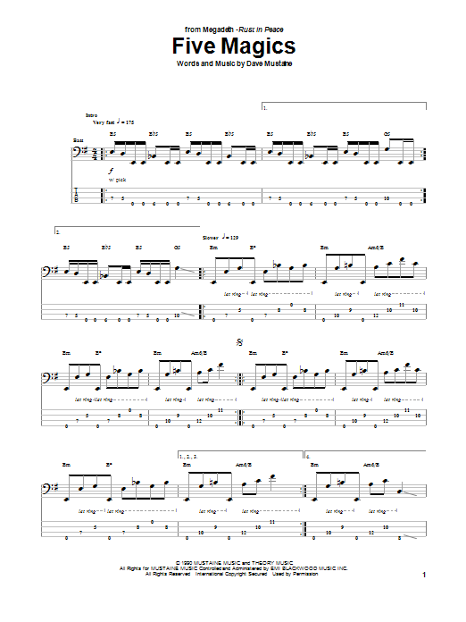 Tablature guitare Five Magics de Megadeth - Tablature Basse