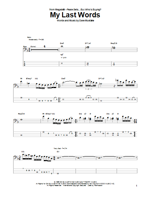 Tablature guitare My Last Words de Megadeth - Tablature Basse