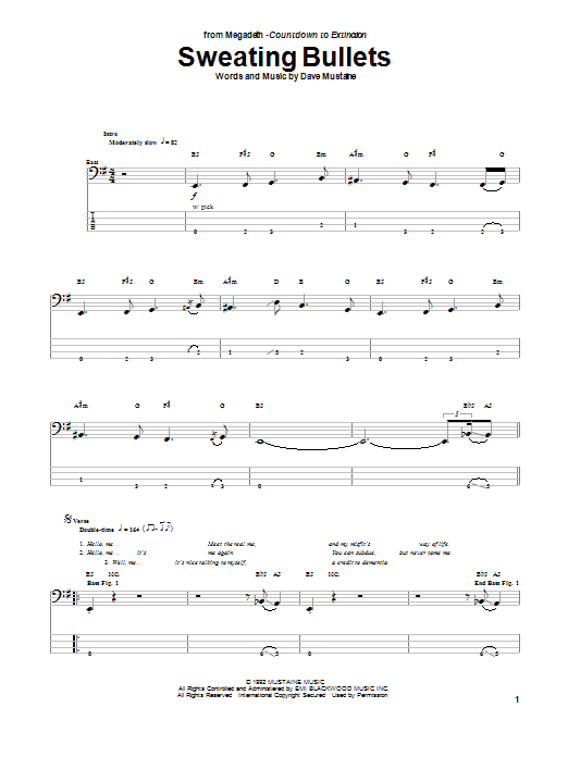 Tablature guitare Sweating Bullets de Megadeth - Tablature Basse