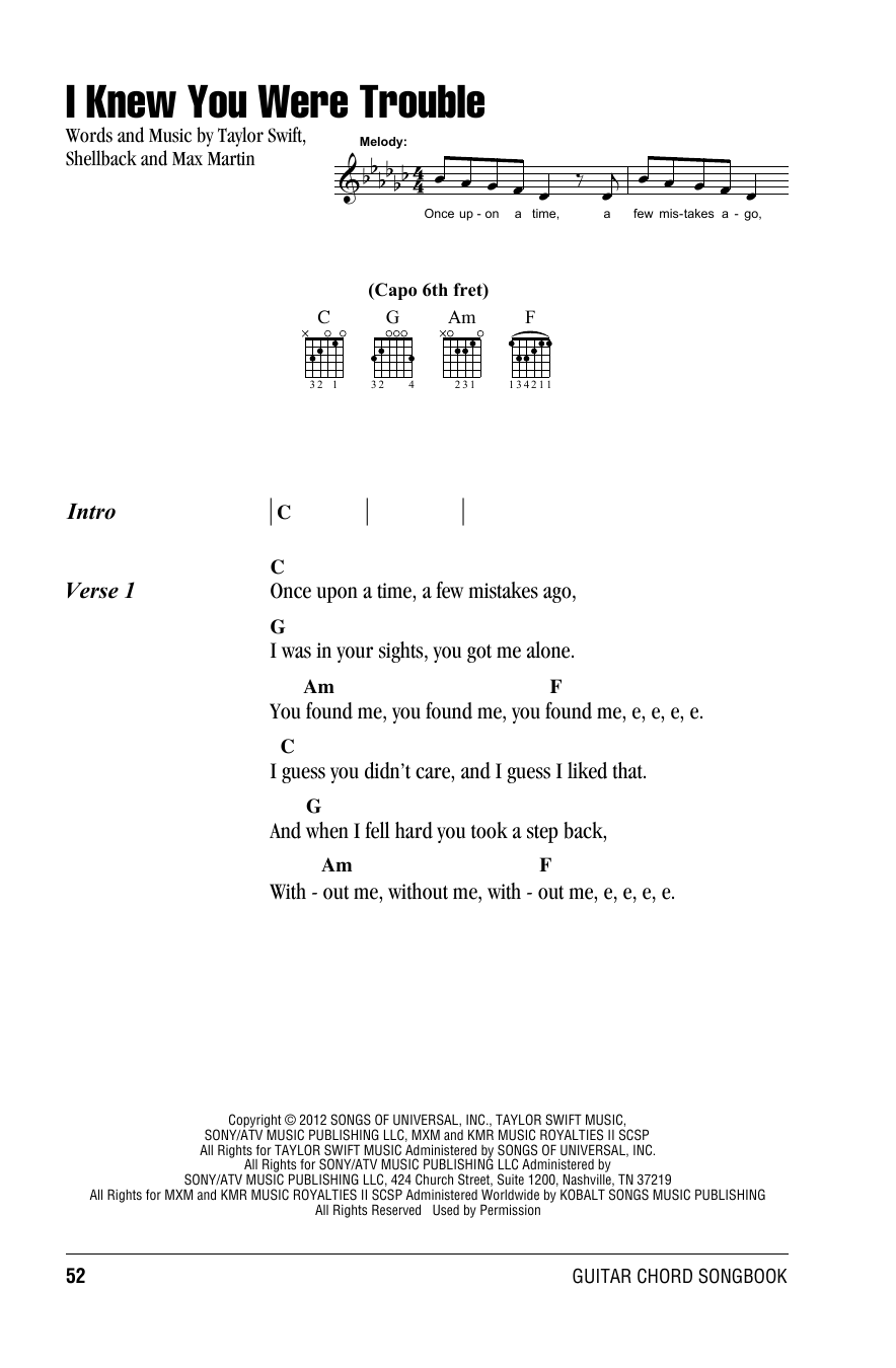 Sheet music digital files to print licensed taylor swift digital i knew you were trouble hexwebz Images