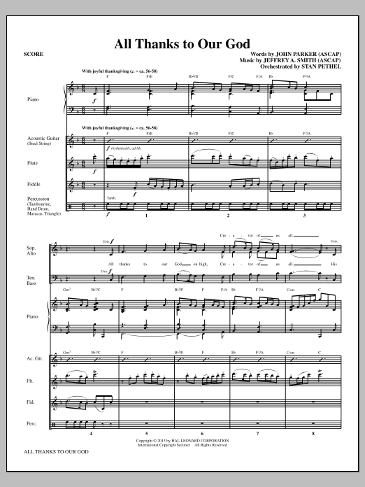 All Thanks to Our God (COMPLETE) sheet music for orchestra/band by Jeffrey A. Smith