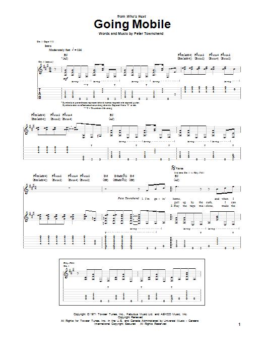 Tablature guitare Going Mobile de The Who - Tablature Guitare