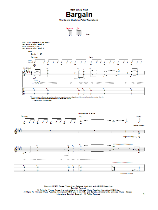 Tablature guitare Bargain de The Who - Tablature Guitare