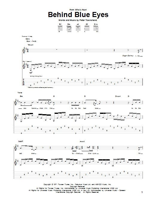 Tablature guitare Behind Blue Eyes de The Who - Tablature Guitare