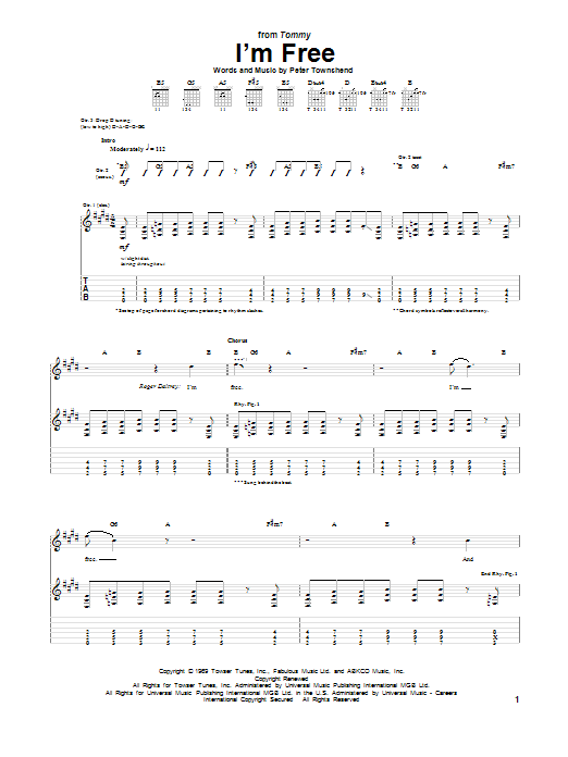 Tablature guitare I'm Free de The Who - Tablature Guitare