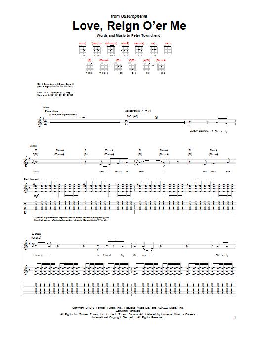 Tablature guitare Love, Reign O'er Me de The Who - Tablature Guitare