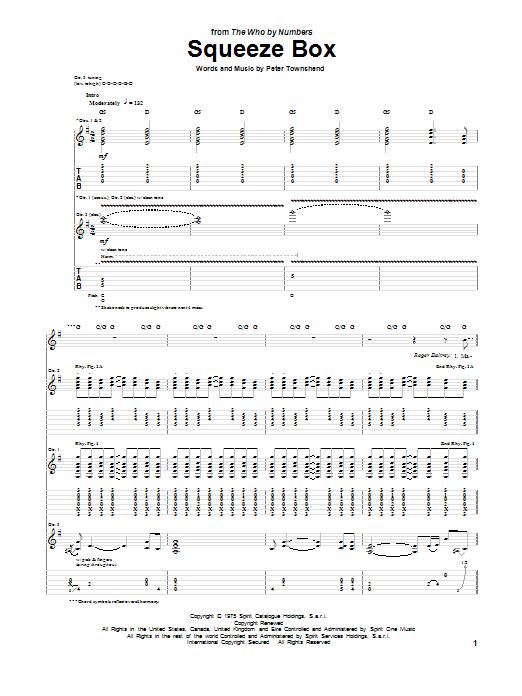 Tablature guitare Squeeze Box de The Who - Tablature Guitare