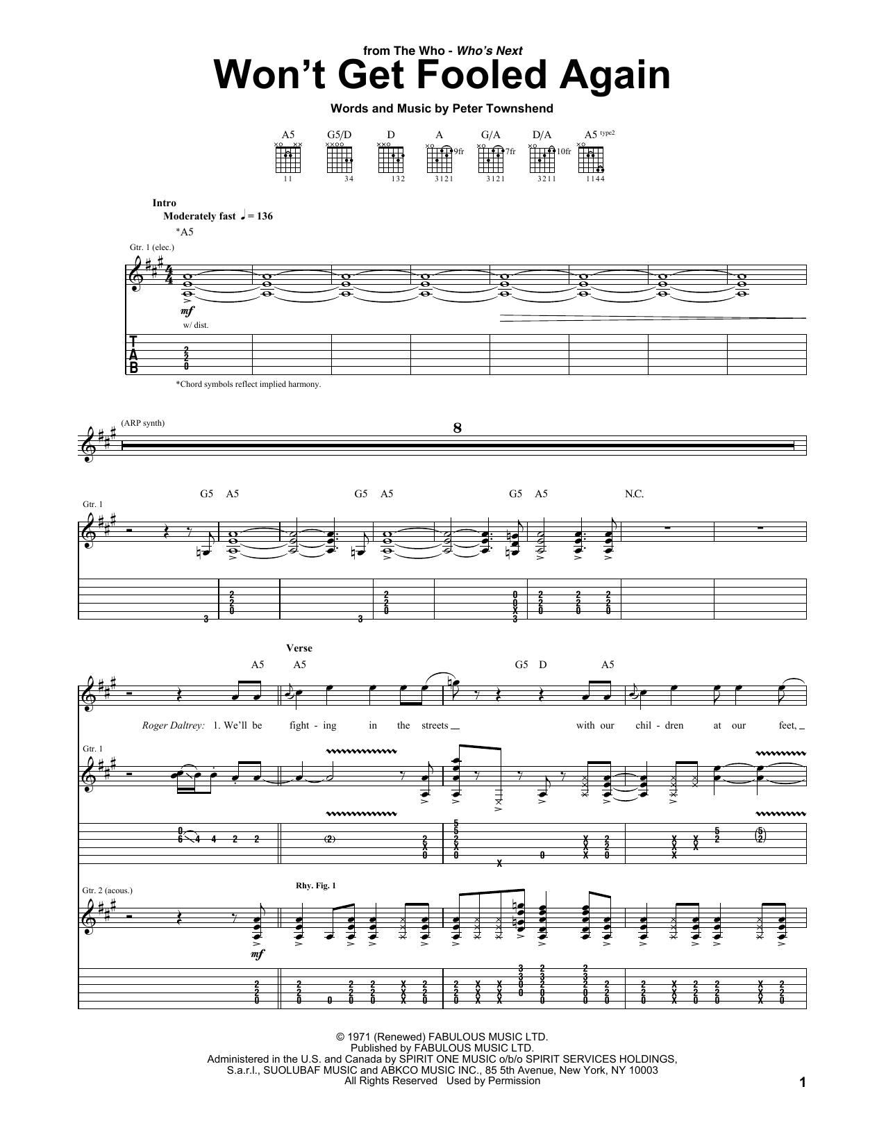 Tablature guitare Won't Get Fooled Again de The Who - Tablature Guitare